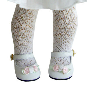"Gorgeous White Dress Shoes with Rosebuds for 18"" American Girl Doll Clothes"