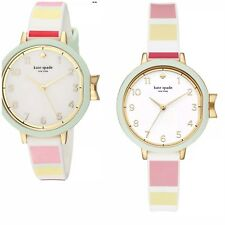 NWT KATE SPADE KSW1410 PARK ROW Pink White Green Silicone Band 34mm WATCH $150