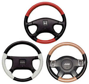 Buick 2 Tone Leather Steering Wheel Cover - You Pick Colors Wheelskins WS2BK