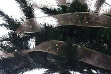 "Christmas Tree Ribbon Garland Decoration Gold Glitter Polka Dot 2.5"" x 75' NEW"