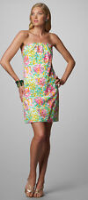 $198 Lilly Pulitzer Keetan Classic Little Lilet Floral Print Strapless Dress 14