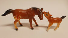 Vintage Miniature Horse & Colt Figurines  Japan Bone China Brown