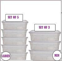 Shoe Box Clear Plastic Ladies Men Stackable Unit Storage Drawer Organizer New