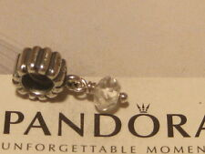 AUTHENTIC PANDORA SILVER APRIL BIRTHSTONE (ROCK CRYSTAL) DANGLE CHARM - 790166BK
