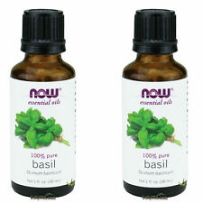 2 x NOW 100% Pure Natural Basil Oil 1 oz 30 mL Essential Oil, FRESH MADE IN USA