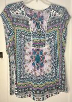 Ruff Hewn Women's Lace Crochet Boho Scarf Top Short Sleeve S/M No Size Tag