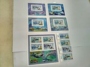 Chad 2012 sharks fishes lighthouses  MICHEL No. 2539-2542 BL423-426