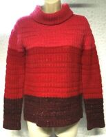 A. Giannetti 2-Ply 100% Cashmere Red Pink Rib Knit Cowl Neck Sweater Size S