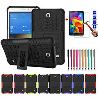Silicone Rugged Stand Hard Back Cover Case + Tempered Glass For Samsung Tablet