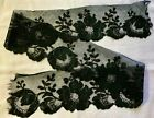 """Antique Salvage Of Black Chantilly Lace Scalloped Edges 41 X 4"""" Floral Design"""