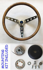 "1966 Dodge Charger GRANT Walnut Wood Steering Wheel 13.5"" 13 1/2"" Chrome spokes"