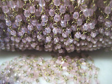 Vintage Faceted Translucent Clear & White Lucite Plastic Beads, Brass Chain 1 yd