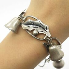 Vtg Mexico 925 Sterling Silver Wide Tribal Handmade Bell Charms Bracelet 7""