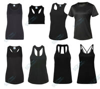 LADIES BLACK SPORTS TOPS, GIRLIE COOL VESTS FOR WORKOUTS, RUNNING, YOGA FITNESS