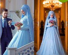 2017 Elegant Long Sleeve Muslim Dress For Wedding With Hijab Gelinlik Blue Lace