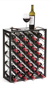 32 Bottle Glass Top Metal Floor Standing Wine Rack