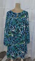 ANTHROPOLOGIE CHLOE OLIVER NWOT Size XS Peasant Sleeve Green/Blue Shift Dress