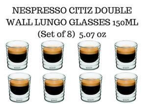 BRAND NEW NESPRESSO CITIZ DOUBLE WALL LUNGO GLASSES  150ML (Set of 8) – 5.07oz