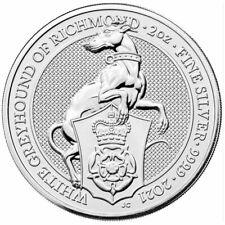 2021 U.K. 5 Pound Silver Queen's Beast White Greyhound of Richmond .9999 2 oz BU