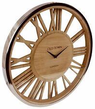 Wooden Wall Clock Glass Cover Silver Trim Skeleton Roman Numerals  Decor 48cm