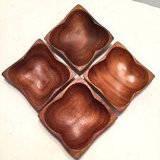 Wood Bowl Dish Square 4 Vtg Mid Century Danish Modern Philippines 5x5
