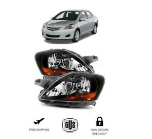 For Toyota Yaris 2007 2012 4Dr Sedan Black Bezel Clear Lens Headlights Lamps Set