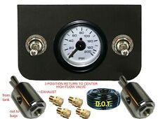 V 2 Toggle Valve Switches Control Air Ride Suspension Dual Gauge-hose-FITs