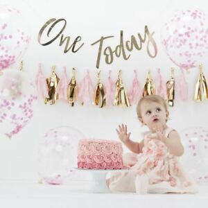 Girls Cake Smash Kit 1st Birthday With Balloons Backdrop Party Hat Garland