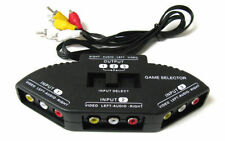 3-Way Audio Video AV RCA Black Switch Selector Box Splitter with/3 RCA Cable