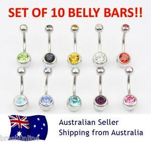 10 x DOUBLE GEM 14G crystal navel bar belly ring body piercing clear AB 316