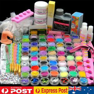 Nail Art Kits UV Gel Glue Acrylic Powder Liquid Glitter Tips Tool Full Care Set