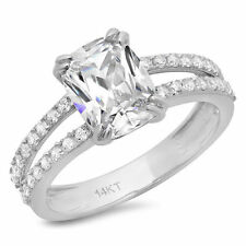 3.5 ct Brilliant Cushion Cut Split Shank Engagement Ring in Solid 14k White Gold
