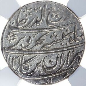 India Mughal Rafi-ud-Darjat 1719 AR Rupee Lahore AH1131//1 KM-405.13 NGC Unc Det