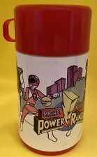1995 Red Aladdin Saban Mighty Morphin Power Rangers MMPR Thermos and Cap (Nice)