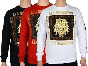 Les Designers Men's Square 'Lion' Print  L/Sleeve Crew Neck Sweatshirt