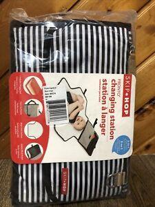 Skip Hop Pronto Changing Station 2 In 1 Diaper Clutch Black White Stripe New