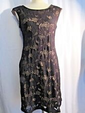 CONNECTED WOMENS BLACK LACE BEIGE LINING SLEEVELESS DRESS, SIZE 4 NEW WITH TAGS