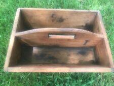 Vtg Wooden Box Tote Farm Caddy Carrier Folk Art Primitive Rustic Storage Tools