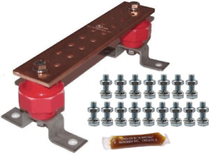 "Copper Ground Bar Kit Wall Mounted .25"" x 2"" x 10"" w/ Harware & Corosion Pkt"