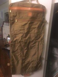 Vintage Hartmann Luggage Hanging Folding Expandable Garment Bag Khaki Canvas
