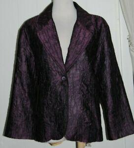 Chico's Rayon Blend Purple Crinkle Button Front 3/4 Sleeve Blazer Jacket sz 2