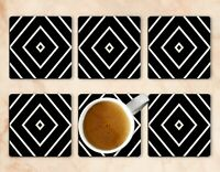 Black And White Drink Coasters x 6