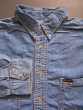 Wrangler Denim Camisa Para Hombre Azul Grande Manga Larga Vintage lshz152