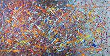 Cuadro Abstracto Moderno Estilo Jackson Pollock Grande 50cm X 120cm