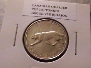 1967 25c Silver Canadian Quarter Toning 4358