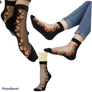 Orignal Quailty Ladies Floral Transparent Crystal Lace Elastic Women Sheer Socks