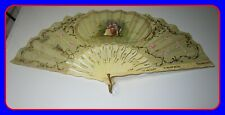 Early Old Antique Bone Silk Hand Fan With Sepertine Sticks