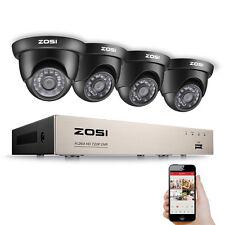 ZOSI 720P HD Video Überwachungskamera Set 8CH TVI DVR 4 Außen Dome Kamera System