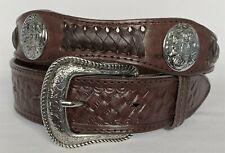 MEN'S BELTS casual western accessories dark BROWN LEATHER CONCHO BELT 36 NWOT!