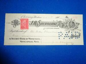 1900 J H SHERBURNE SECURITY MONT. BANK OF MINNESOTA  BANK CHECK W/REVENUE STAMP